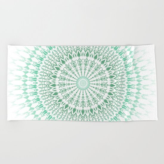 Mint White Geometric Mandala Beach Towel