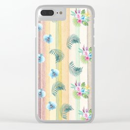 Hawaiian Orchids and Palms in Watercolor Clear iPhone Case