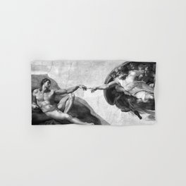 Black and White Creation of Adam Painting by Michelangelo Sistine Chapel Hand & Bath Towel