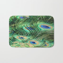 Feather Me Blue & Green (Peacock Feathers) Bath Mat