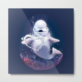 Beluga Whale Blow Kiss Metal Print