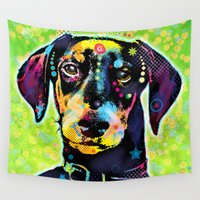dachshund Wall Tapestries featuring Dachshund by Gary Grayson