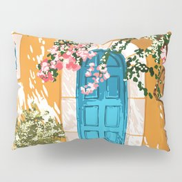 Oh The Places You Will Go, Summer Travel Spain Greece Painting, Architecture Building Bougainvillea Pillow Sham