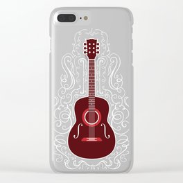 Acoustic Guitar With A Scroll Design Clear iPhone Case
