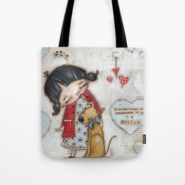 Trusted Confidant - A Girl confides in her Dog Tote Bag