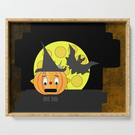 Funny shocked pumpkin head with bat and moon Serving Tray