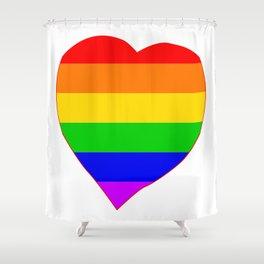 LGBT Rainbow Colors Heart Shower Curtain