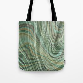 CRAWLEY wavy lines plaid pattern in light green brown tan home decor Tote Bag
