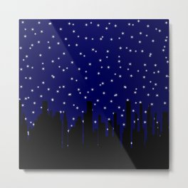 Stary Night Cityscape Metal Print
