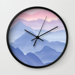 Magical Candy Hand-painted Watercolor Mountains, Airy Mountain Landscape in Pastel Blush Pink, Purple and Blue Color Wall Clock