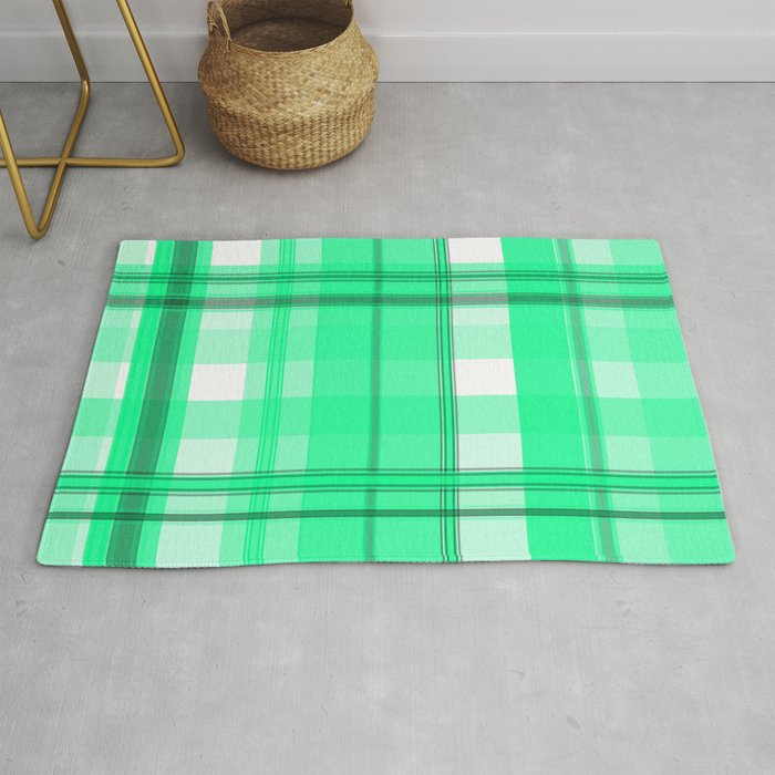 Shades Of Light Green And Gray Plaid Rug By Pharrisart