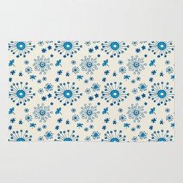 Doodle flowers in blue Rug