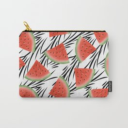 Watermelon slices on white black stripes on the background. Carry-All Pouch