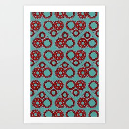 Bicycle Gear Heart close up Art Print