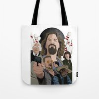 lebowski Tote Bags featuring The Big Lebowski by Chad Trutt