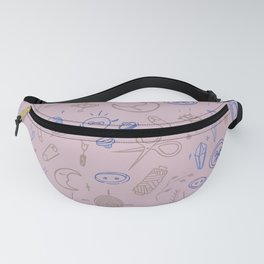 Sewing witch pattern in soft pink in blue Fanny Pack