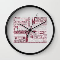 wine Wall Clocks featuring Wine by Davide Rostirolla