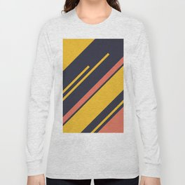 Retro Stripes in Blue Coral Yellow Long Sleeve T-shirt