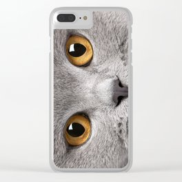 Cat in Grey Clear iPhone Case