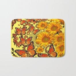 Butterfly & Sunflower Yellow Nature Patterns Bath Mat