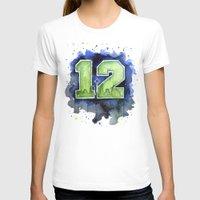 seahawks T-shirts featuring 12th Man Seahawks Seattle Go Hawks Art by Olechka