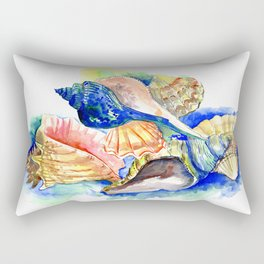 Beach design, Seashell, ocean beach seashell artwork, beach house Rectangular Pillow