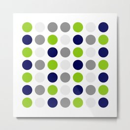 Lime Green, Bright Navy Blue, and Gray Multi Dots Minimalist Pattern on White Metal Print