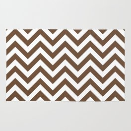 Coffee Brown Chevrons Pattern Rug