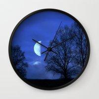 kindle Wall Clocks featuring Moon between Trees  - JUSTART © by JUSTART