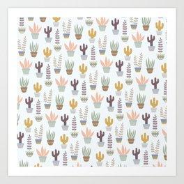 Flower pattern in pots Art Print