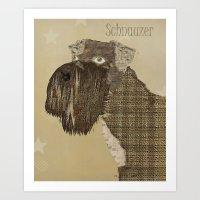 schnauzer Art Prints featuring Schnauzer  by bri.buckley