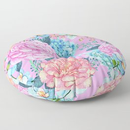 Floral Pattern In Pink, Peach And Robin Egg Blue Floor Pillow