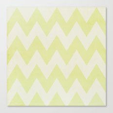 Grey and Lime Green Textured Chevron Pattern Canvas Print