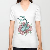 koi fish V-neck T-shirts featuring Koi Fish by Bare Wolfe