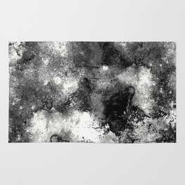 Deja Vu - Black and white, textured painting Rug