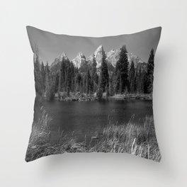 Tetons in Black and White - Grand Teton at Schwabacher Landing in wyoming Throw Pillow