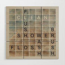 Bathroom 'Scrabble' Letters Wood Wall Art
