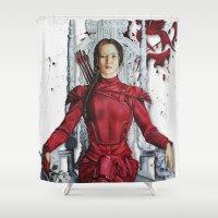 "katniss Shower Curtains featuring Katniss Everdeen Mockingjay Part 2 ""I Kill Snow"" | Drawing by CorySimpsonArt"