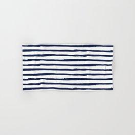 Navy Blue Stripes on White Hand & Bath Towel