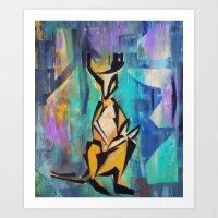 kangaroo Art Prints featuring KANGAROO by Matt Schiermeier