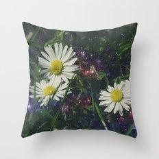 Galaxy Daisies Throw Pillow
