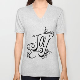 Joy hand lettered Christmas art Unisex V-Neck