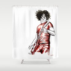 Jack White Red Watercolor Shower Curtain