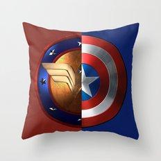 Wonder Woman/Captain America Throw Pillow