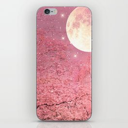 Surreal Fantasy Fairy Tale Pink Nature Trees Stars Full Moon iPhone Skin