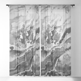 Deep Sea Black Focus Marble Sheer Curtain