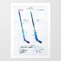 blackhawks Art Prints featuring Blue Hockey Stick Art Patent - Sharon Cummings by Sharon Cummings
