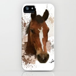 Brown and White Horse Watercolor iPhone Case