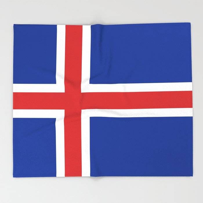 Flag of Iceland - High Quality Image Throw Blanket
