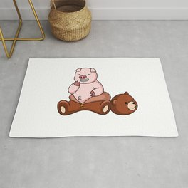 Funny Pig Wears Grizzly Bear Costume Rug